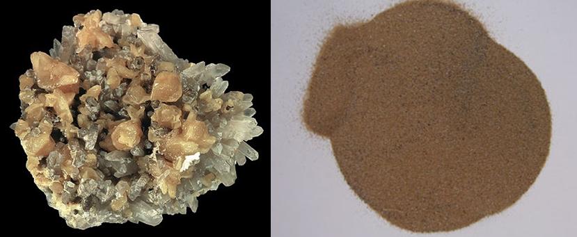 모나자이트(왼쪽)와 모나자이트 가루(오른쪽). 각종 음이온 제품에 가장 많이 쓰이는 광물이다. - wikipedia 제공