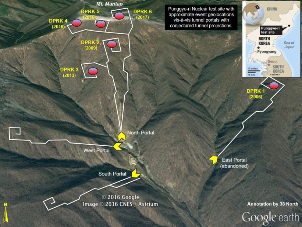 풍계리 핵실험장의 모습. 동서남북에 1개씩 4개의 갱도로 이뤄져 있다. 이 중 3번과 4번 갱도는 핵실험에 한번도 사용되지 않은 갱도다. 북한은 현재(24일 오후 8시 기준) 2, 3, 4번 갱도를 폭파한 상태다. - 38 north 제공
