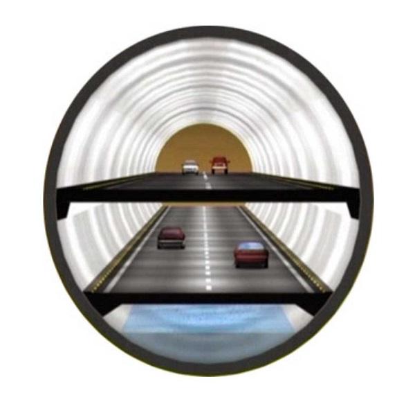 말레이시아 SMART 터널의 단면도. 차가 다니는 도로는 복층으로 이뤄져 있으며 가장 아래 층은 물이 통과하는 수로로 활용하고 있다. - 건설연 제공.