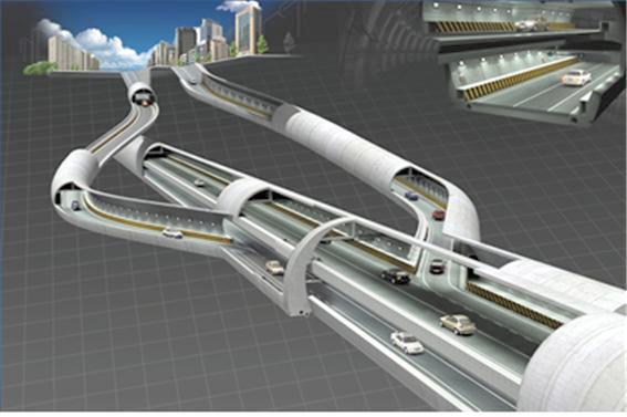 한국건설기술연구원의 복층터널 조감도. 위 사진은 일반 차량을 위한 복층터널이다. - 건설연 제공