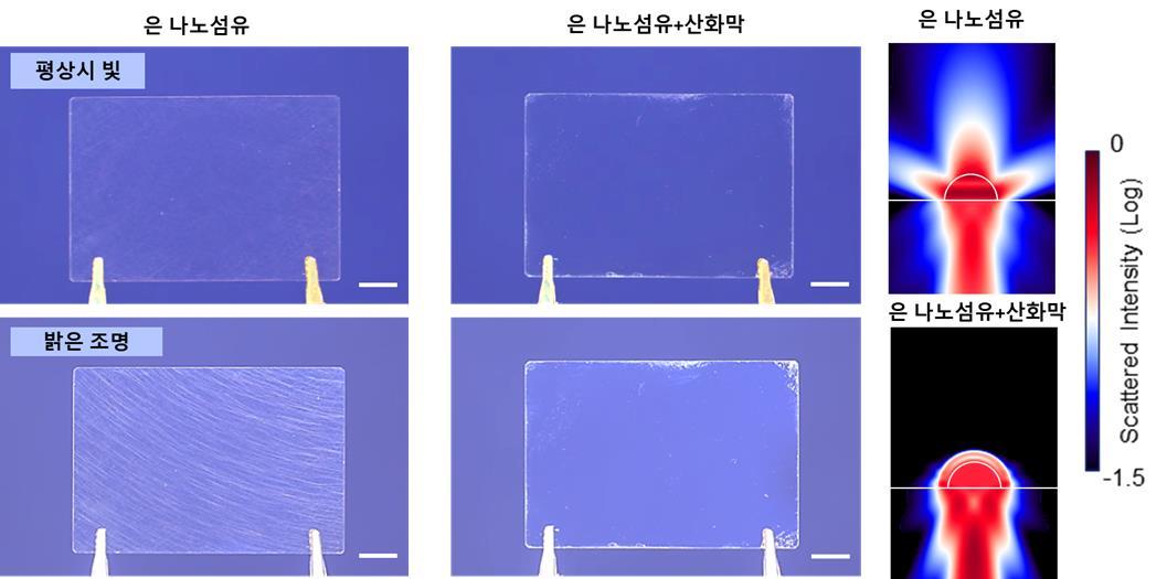 밝은 조명을 비췄을 때 은 나노와이어 투명전극(왼쪽)에서는 빛의 산란이 일어나 그물 구조가 눈에 보이지만 산화막이 형성된 투명전극(오른쪽)에서는 보이지 않는다. - UNIST 제공