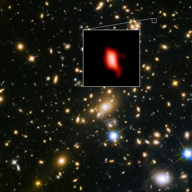 연구팀이 발견한 133억년전 은하의 모습이다.-ALMA  제공