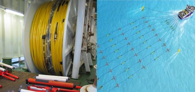 스트리머 장비(왼쪽)과 탐해3호가 3차원 스트리머 시스템을 이용해 해저지질탐사를 진행하는 개념도- 한국지질자원연구원 제공
