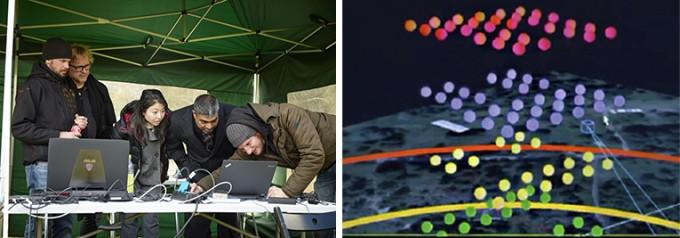 드론을 공중에 띄우고, 원하는 위치에 맞게 조정하는 엔지니어의 모습(왼쪽)과 드론의 위치와 동선이 프로그래밍 돼 있는 노트북 화면(오른쪽). - Intel Corporation 제공