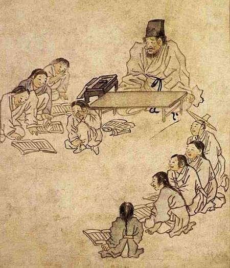 서당. 단원 김홍도. 1780년경. 동아시아 사회는 오래 전부터 유교적 세계관에 근거한 교육 제도를 유지해왔다. 학업적 성취를 높게 평가하는 전통은 어린이로부터 놀 시간을 박탈했는데, 이런 경향은 현대 사회에서 극단적으로 심화되고 있다. - 위키피디아 제공