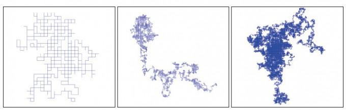 사각형 격자 위에서 확률보행 시행으로 그린 곡선. 시행횟수가 적으면 선의 방향성이 동서남북 4가지로 뚜렷하게 보인다. 하지만 확률보행의 극한인 브라운 운동은 방향성을 잃어 '등각불변'이라는 성질을 갖는다. - 수학동아 2018년 5호 제공