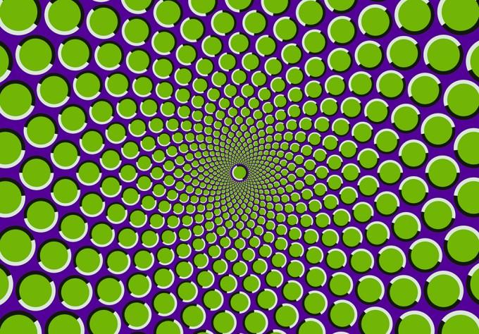 그림이 조금씩 움직이는 것처럼 느껴진다. 이 운동 착시는 우리 눈이 초점을 맞추려고 하면서 조금씩 움직이는 '미세 안구 운동'으로 인해 생긴다고 알려졌지만, 아직도 완전히 밝혀지지는 않았다. - 어린이과학동아 2018년 10호(=Fiestoforo(W)) 제공