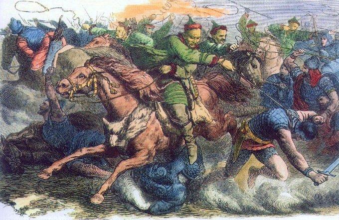 훈족이 지금의 이란 지역을 침공하는 모습을 그린 19세기 그림. -사진 제공 요한 가이거(W)