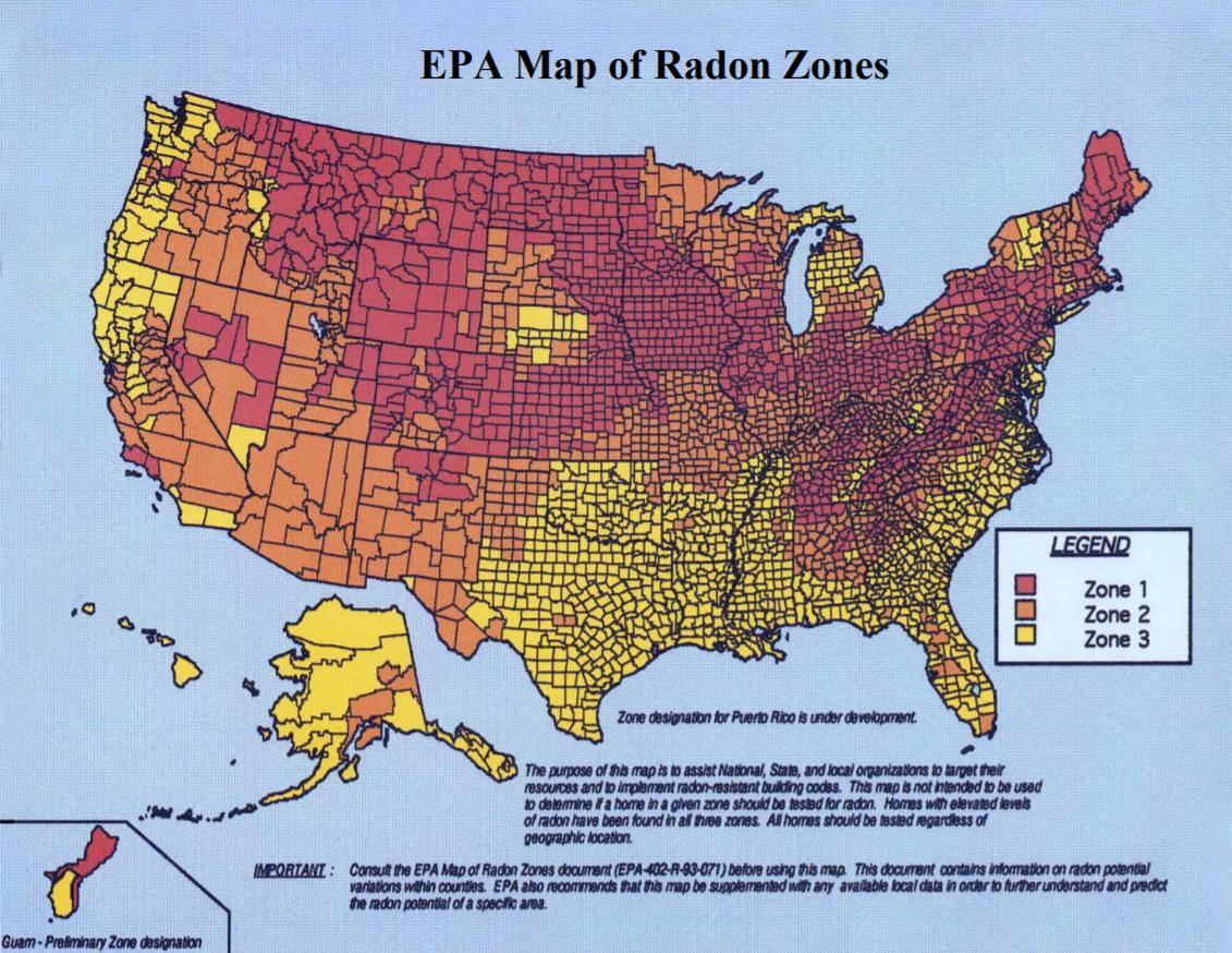미국은 1989년부터 3년간 전국적으로 실내 라돈 농도를 조사해, 라돈지도를 완성했다. - EPA 제공