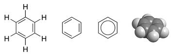 벤젠은 탄소 6개가 육각고리를 이루고 있는 구조다. 수소 대신에 다른 원소나 화합물이 붙어있는 화학물질을 벤젠류 물질이라고 한다. - wikimedia 제공