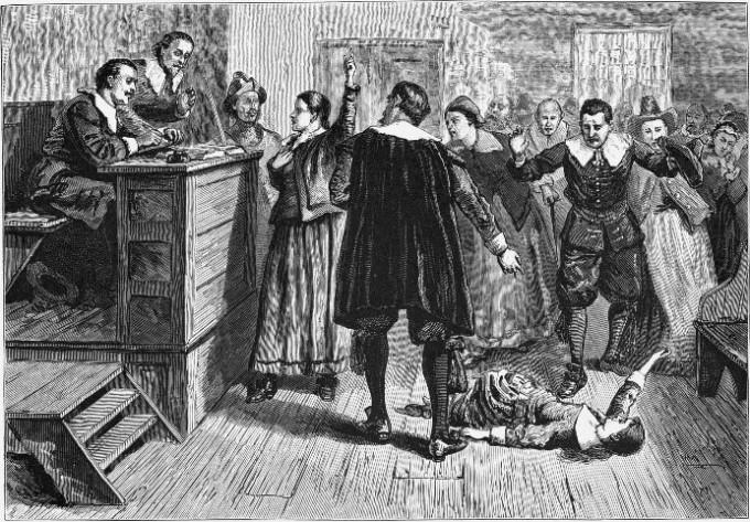 세일럼 재판. 발작 증상을 보이는 소녀의 지목에 따라, 185명이 마녀 혹은 사탄의 하수인으로 몰려 체포되었고, 25명이 목숨을 잃었다. - 위키피디아 제공