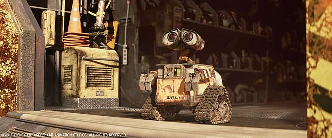 월-E의 한 장면. 쓰레기 청소에 최적화 된 신체구조를 갖고 있다.