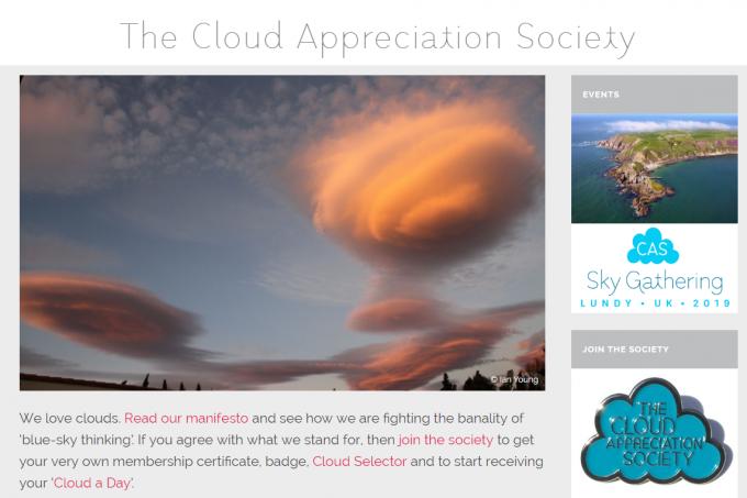 구름 감상 협회 (The Cloud Appreciation Society) 홈페이지 갈무리