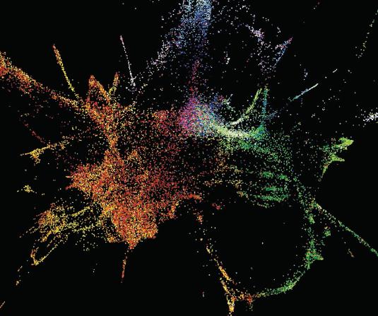 제프라피쉬 배아가 분열하는 첫날 나타나는  RNA 전사체들의 변화과정을 시각적으로 나타냈다. 빨간것일수록 신경과 관련된 전사체, 파란것일수록 상피조직, 초록생을 중내배엽과 관련된 전사체들의 연결성을 나타낸다. -science 제공