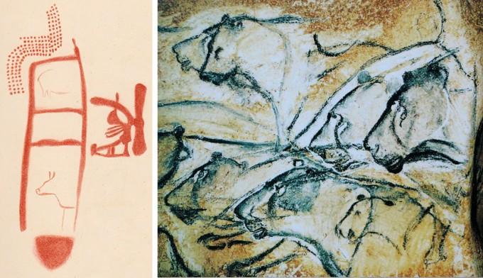 왼쪽은 적어도 6만4000년 전 네안데르탈인이 그린 것으로 추정되는 그림을 그래픽 처리한 것이고(원 그림은 알아보기도 어렵다) 오른쪽은 3만여 년 전 현생인류가 남긴 사자 그림으로 사실적 묘사의 측면에서 현격한 차이가 난다. 기억만으로 이런 그림을 그릴 수 있다는 건 비범한 재능이다. - '사이언스' / 위키피디아 제공