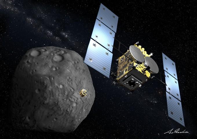 일본항공우주개발기구(JAXA)의 소행성 탐사선 '하야부사-2'의 상상도. 2014년 12월 발사된 하야부사-2는 27일 소행성 '류구' 상공 20km 지점에 도착했다. 암석 시료를 채취한 뒤 2020년 지구로 귀환한다. - 일본항공우주개발기구 제공