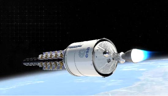 Vinci 엔진이 일부 소형 위성을 분리시킨 뒤 재점화 되어 이동하고 있는 모습. 아리안스페이스 제공