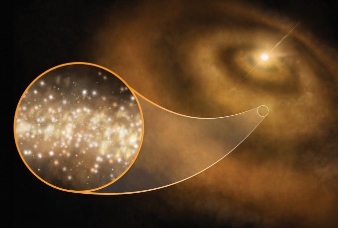 다이아몬드로 둘러싸인 원시행성계 상상도. -사진제공 S. DAGNELLO, NRAO/AUI/NSF