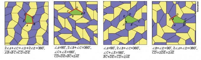 마저리 라이스가 찾은 4가지 볼록오각형 테셀레이션 - Tomuruen(w) 제공