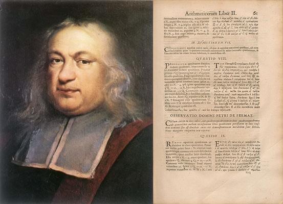 17세기 프랑스 수학자 피에르 드 페르마(Pierre de Fermat,1601~1665), 1670년 출간된 피에르 드 페르마의 주석이 달린 디오판토스의 '산술' (Arithmetica) - wikimedia
