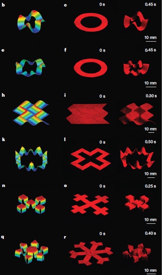 2차원 평면을 다양한 3차원 형태로 변형한 예. 맨 왼쪽은 컴퓨터 시뮬레이션이고 가운데는 초기 모양 맨 오른쪽은 자기장을 통해 제어해 완성한 3차원 구조다. 원하는 대로 동작과 모양을 만들 수 있음을 확인했다. -사진 제공 네이처