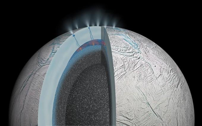 토성 위성 엔셀라두스의 분출 - 사진 제공 NASA/JPL
