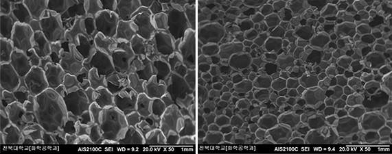 냉장고에 쓰이는 우레탄폼 단열재를 확대한 모습. 일반 새 제품(왼쪽)보다 폐우레탄폼을 재활용한 '폴리올'로 만든 우레탄폼(오른쪽)의 조직이 더 조밀하다. 그만큼 단열 성능이 뛰어나다는 뜻이다. - 전북대 제공