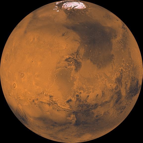 붉은 배경에 검은색 지형 그리고 극관 - NASA 제공