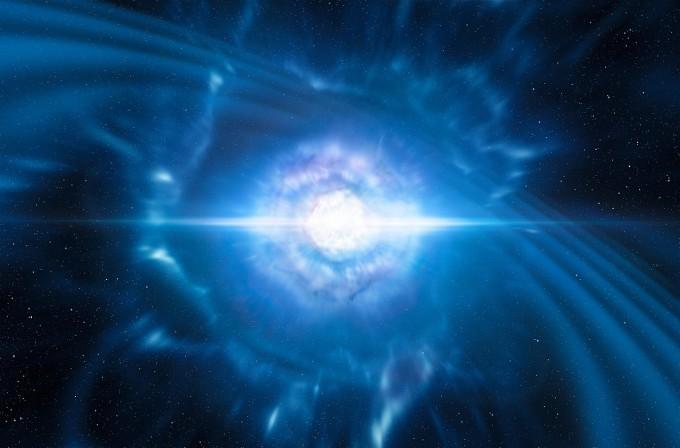 충돌로 합쳐지는 중성자별 상상도. 이런 거대한 천문 이벤트는 우주에 중력파를 남긴다. - 사진 제공 ESO