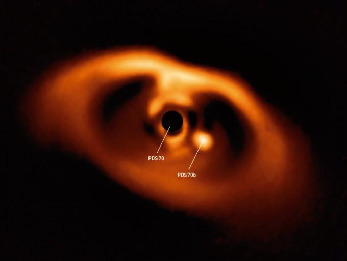 항성 PDS 70(가운데 검은 원)과 새로 탄생한 행성 PDS 70b(가운데 밝은 원). 실제로는 항성인 PDS 70이 훨씬 밝지만, 어린 행성을 관측하기 위해 항성의 빛을 가려 검게 나타냈다. - ESO 제공