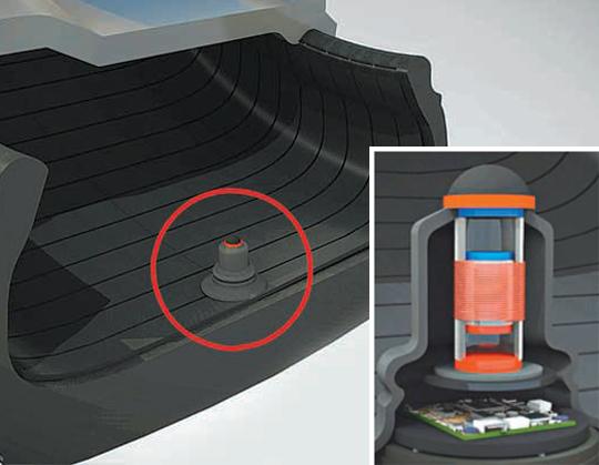 한국기계연구원(기계연)이 개발한 스마트 타이어 시스템. 일반 타이어 내부에 그림과 같이 부착하면 스마트 타이어로 변신한다. - 한국기계연구원 제공
