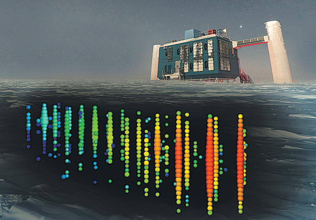 남극의 아이스큐브 중성미자 관측소. 지하 1.5㎞ 5000여 개 광학센서로 남극점을 통과한 중성미자가 만들어내는 하전 입자와 빛을 검출한다. - 사이언스 제공