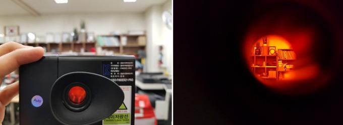 고휘도LED뷰파인더탐지기로 몰카의 위치를 보면 오른쪽 화면과같이 적외선으로인해 전방이 빨갛게 보인다. 몰카에 렌즈가 있는 지역에서 빨간 점이 깜빡이게 된다.-김진호 기자 제공