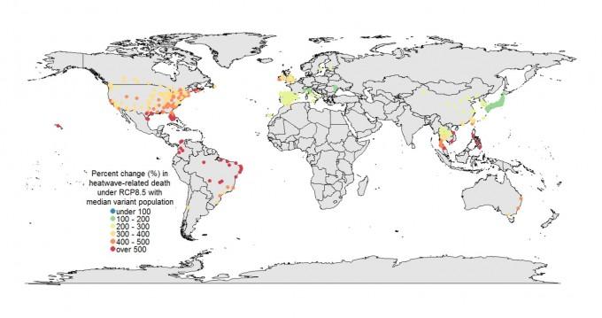 2031~2080년 사이에 발생할 것으로 예측된 폭염에 의한 추가 사망자 수를 1971~2020년 사이에 발생할 것으로 추정되는 수와 비교한 지도. 붉은색일수록 추가 사망자가 증가한다는 뜻이다. - 사진 제공 플로스 메디슨