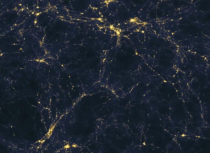 우주는 텅 빈 공간에 별 또는 은하가 띄엄띄엄 분포하는 구조가 아니다. 오히려 3차원 그물 또는 거품에 가까운 구조(우주망)로 은하단이 매듭에 해당하고 기체로 이루어진 필라멘트가 줄에 해당한다. 최근 관측에 따르면 가시 물질의 절반가량이 필라멘트에 존재할 가능성이 높다. 우주망을 보여주는 컴퓨터 시뮬레이션 결과다. - 위키피디아 제공