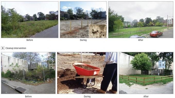 실험에 이용된 정원녹지화(위) 및 청소 장면. 방치된 공터만 정비해도 주민의 정신 건강이 크게 개선됨이 밝혀졌다. -사진 제공 JAMA 네트워크 오픈