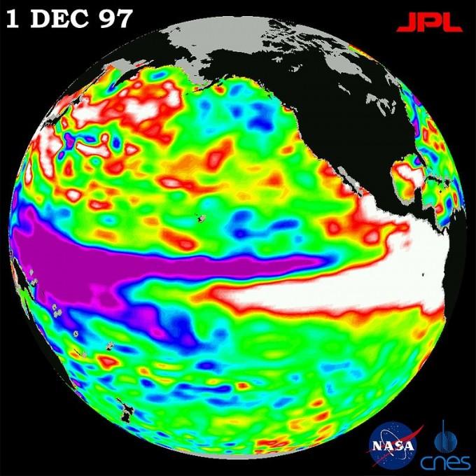 엘니뇨가 발생한 태평양의 수온 분포. 태평양 중앙 오른쪽의 흰색 부분이 온도가 평소보다 높아진 지역이다. - 사진 제공 NASA/JPL