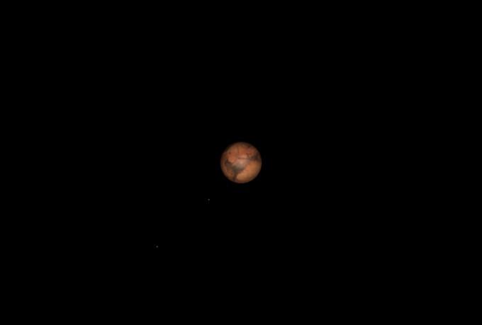 2018년 7월 31일에 촬영한 과학동아천문대 주망원경 속 화성의 예상모습(150배) - 김영진 과학동아천문대장 제공