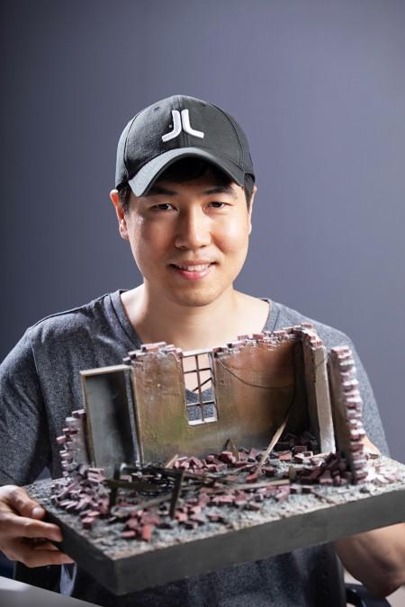 김필원 레벨디자이너가 게임 '서든어택' 의 맵과 비슷하게 만들어본 디오라마(3차원 축소 모형). - 홍덕선 제공