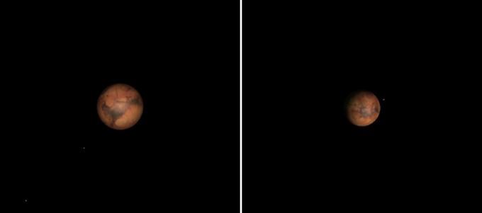 과학동아천문대 주망원경 속 화성의 예상모습(150배)/2018년 7월 31일(좌), 2018년 9월 30일(우) - 김영진 과학동아천문대장 제공