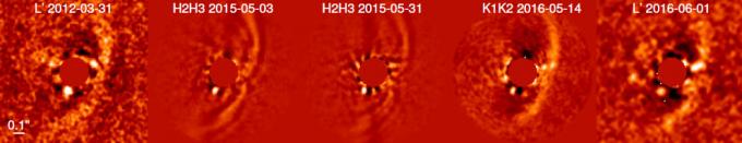2012년부터 2016년까지 4년간 새로운 행성 PDS70b가 모양을 갖추는 과정이다.-ESOA. Müller et al. 제공