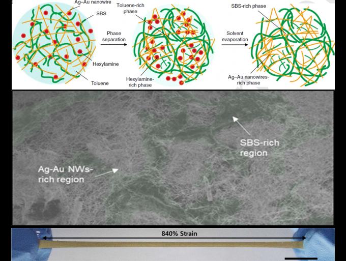 기초과학연구원(IBS) 나노입자연구단이 개발한 전도성 고무 '금-은 나노복합체'. - IBS 제공