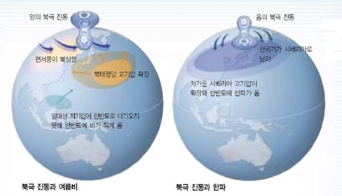 북극진동은 계절별로 다양하게 한국의 날씨에 영향을 준다. 양의 북극진동으로 인해 대기가 정체되면 열대성 저기압이 한국으로 다가 오지 못해 폭염이 가중된다. 또 음의 북극진동이 겨울철에 발생하면 찬 시베리아 공기가 남하해 한파가 몰아치게 된다.-과학동아 제공