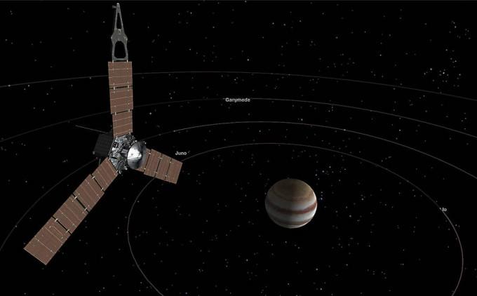태양계에서 가장 큰 행성인 목성과 이를 관찰하기 위해 2011년 쏘아 올린 탐사선 주노가 2016년 7월 목성궤도의 진입한 모습이다.-NASA제공