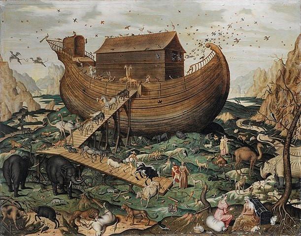 노아의 방주. 노아는 세상이 멸망할 것이라는 계시를 받고, 일생 동안 거대한 배를 산 위에 짓는다. 멸망에 대한 묵시, 즉 아포칼립스 및 이를 막기 위한 기발한 대비책에 대한 이야기는 모든 문화권에서 흔히 발견되는 보편적 믿음이다. 일부 진화심리학자는 이러한 공유된 믿음이 플라이스토세의 인류 조상에게 큰 이익을 주었을 것이라고 주장한다. - 위키피디아 제공
