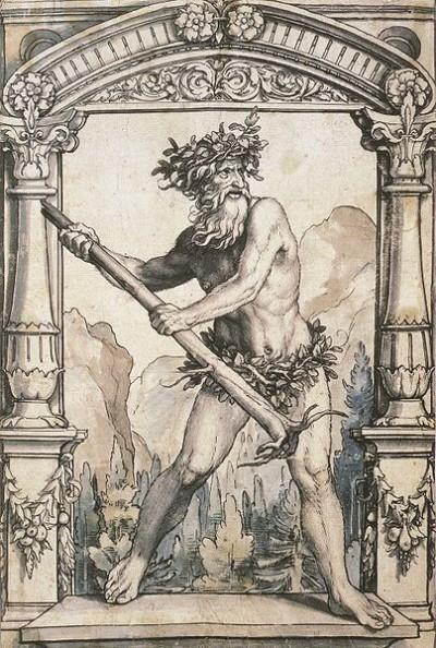 한스 홀베인 작(1525-28년 경). 스테인드글라스 디자인을 위한 야수의 그림. 인간은 고도로 높은 사회성을 진화시켰으나, 동시에 우리 마음에는 법이나 전통 따위는 무시하는 야수의 본성이 꿈틀거리고 있다. - 위키미디어 제공