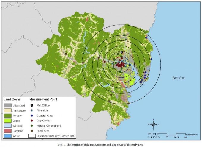 연구진이 울산에 설치한 44개의 측정소 지도. -사진 제공 UNIST