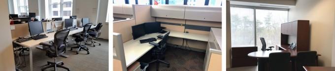 세 가지 사무실. 왼쪽부터 칸막이 없는 개방형, 일반적인 칸막이형, 그리고 독방. -사진 제공 직업환경의학저널