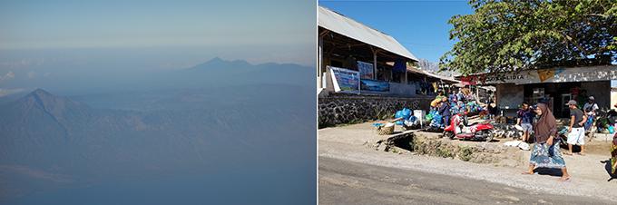 강진이 발생한 인도네시아 롬복섬의 최고봉인 린자니 화산의 모습(왼쪽)이다. 지진이 있기전에는 매일 70~80여 명의 관광객이 1박 2일 또는 2박3일 코스로 등반하기 위해 린자니 화산을 찾아 오는 상황이었다. 지진으로 산 각지역에서 고립된 여행객이 발생했을 뿐아니라 인근지역에 사망자 수조차 정확히 확인되지 않은 상황이다. -김진호 기자 제공