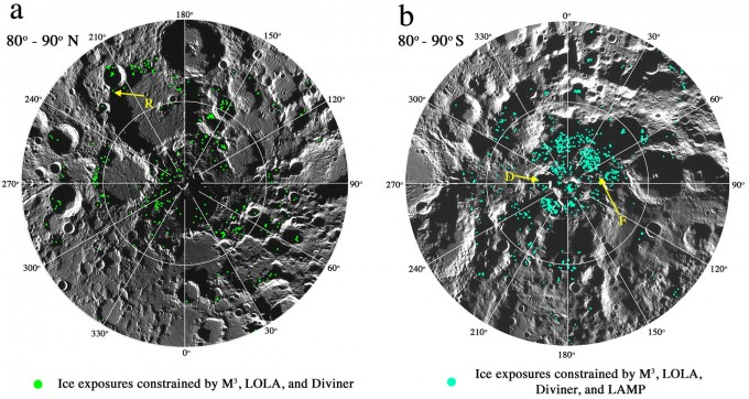 달의 남극과 북극 지도. 초록색과 청록색 점으로 얼음이 있는 지역을 표시했다. PNAS 제공.